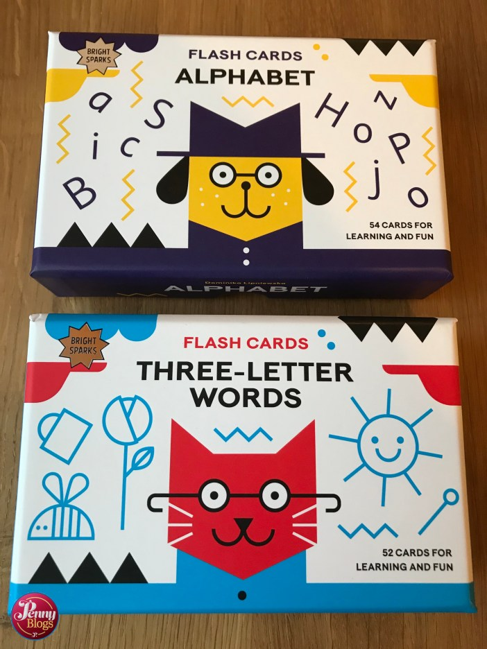 Bright Sparks Flash Cards - picture showing the boxes for Alphabet and Three-Letter Words Flash Cards