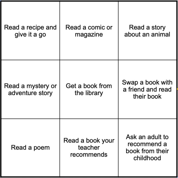 Create Your Own Calm Book Bingo
