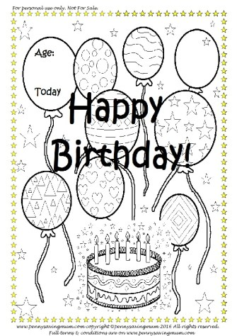 Colour In Happy Birthday Card PDF