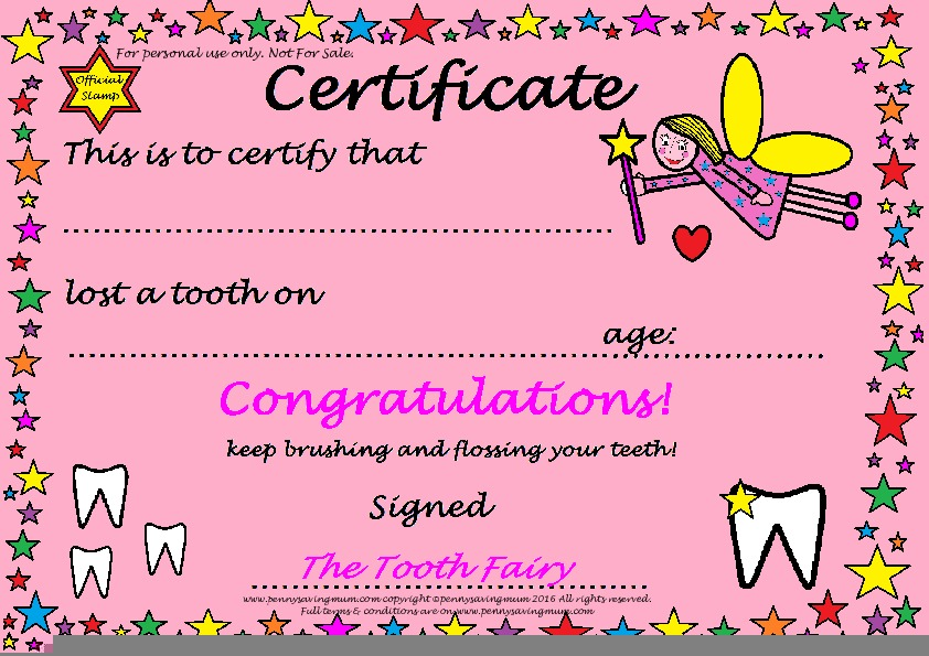Tooth Fairy Certificate Girls Pdf Thumbnail Penny Saving Mum