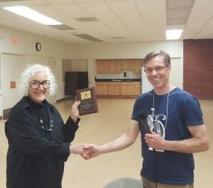 Miriam receiving her lifetime award