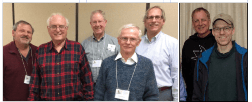 Sequoia Stamp Club 2019 Board (l-r): Patrick Ford, Jim Mosso, Jim Southward, John Corwin, Kjell Enander, Jay Strauss, and Craig Butterworth. Photo at left by Chris Palermo at right by Ken Perkins.