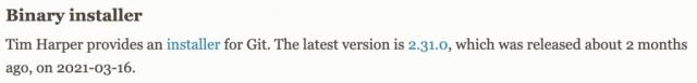 Git instalador binario