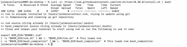 Instalar nvm en mac o linux