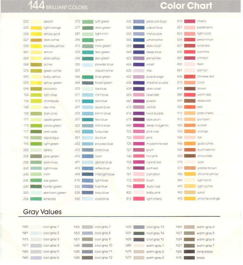 Tombow Markers Color Chart Coloringsite