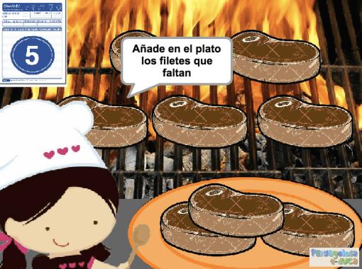 Añade en el plato los filetes que faltan (1-5)