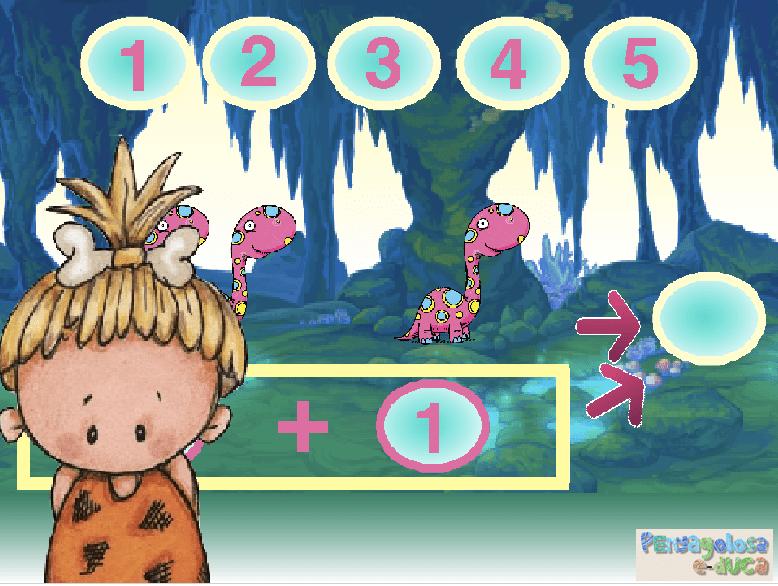 Contar dinosaurios y componer números (1-5)