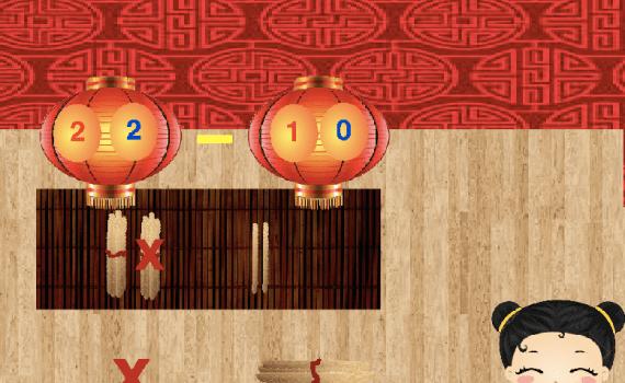 Resta tachando palillos chinos (10-50)