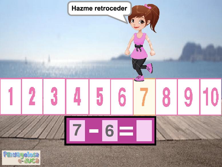 Retroceder por la recta numérica (1-10)