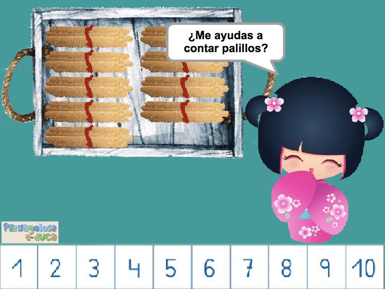 ¿Cuántos palillos hay en la bandeja? (10-100)