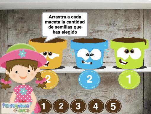 Reparte las semillas entre las macetas (1-5)
