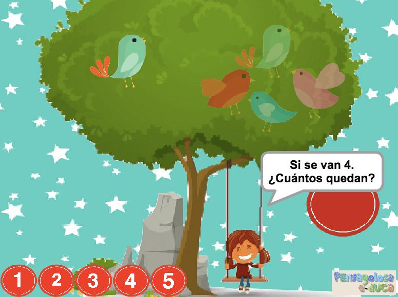 ¿Cuántos animales quedan en el árbol? (1-5)