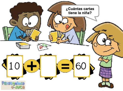 ¿Cuántas cartas tiene la niña? (decenas completas)(20-100)