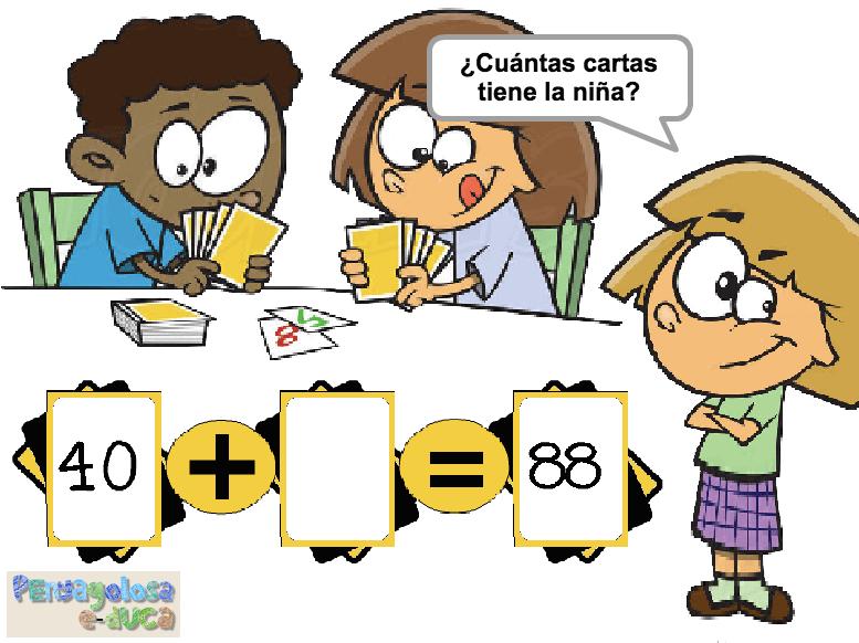 ¿Cuántas cartas tiene la niña?(d.c.+ d. y u.)(10-100)