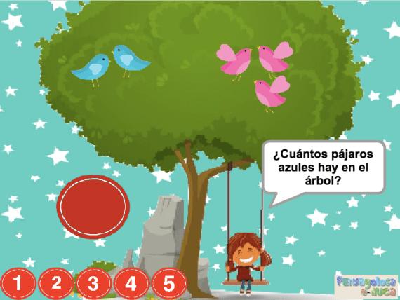 ¿Cuántos pájaros hay en el árbol? (1-5)