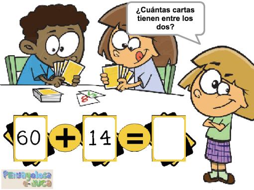 Sumar cartas (decenas completas y con unidades)(10-100)