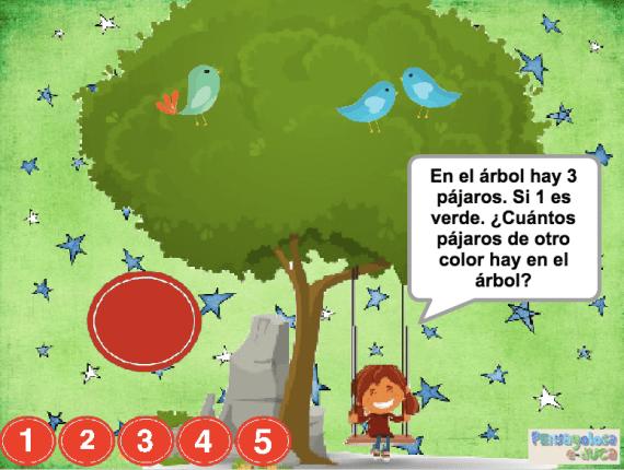 ¿Cuántos pájaros de otro color hay en el árbol? (1-5)