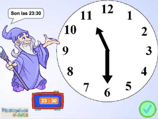 Mueve las agujas del reloj (en punto, cuartos, y media)(24h)