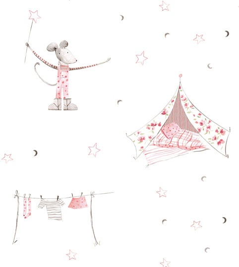 Mrs Mouse Goes Camping Wallpaper Peony Sage