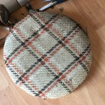 Plaid Footstool Before