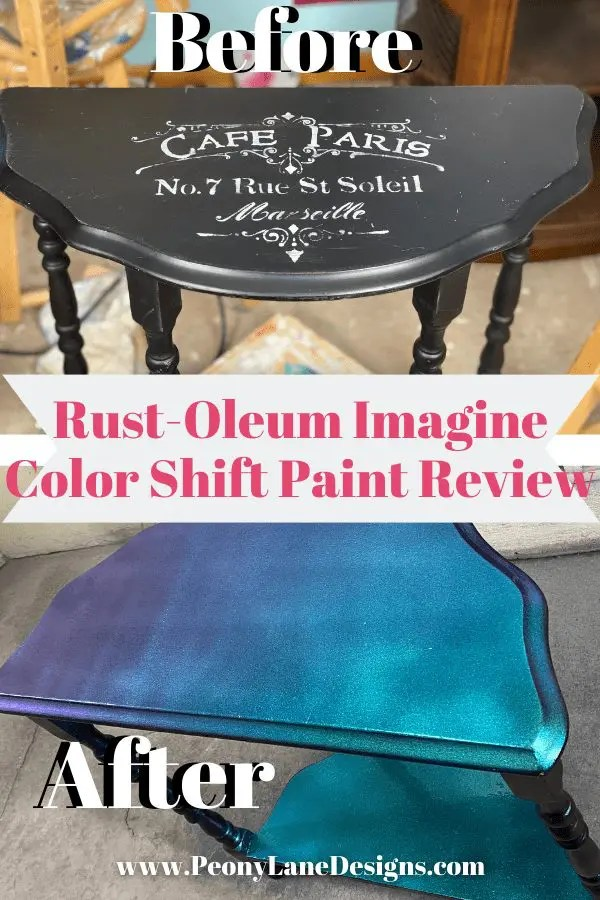 Rust-Oleum Imagine Color Shift Paint Review // furniture makeover  // rust oleum glitter // rust oleum//  furniture redo before and after // before and after painted furniture