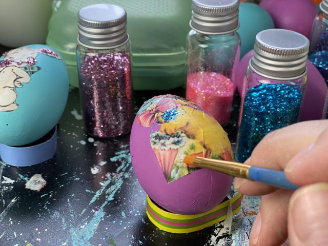 tacky glue on the egg
