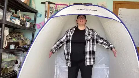Standing in the homeright spray shelter