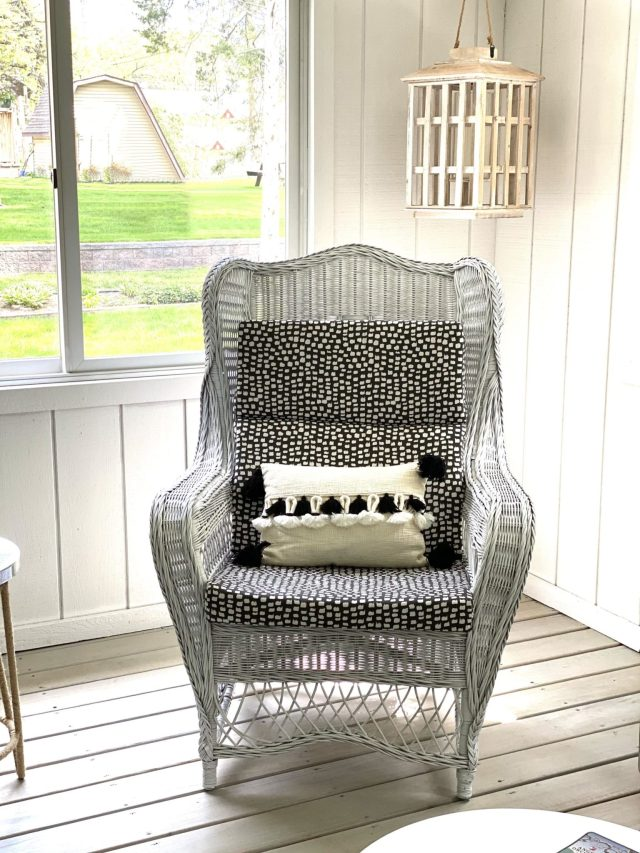 wicker chair purchased at garage sale