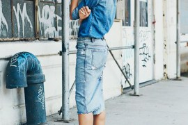Skirt with denim shirt