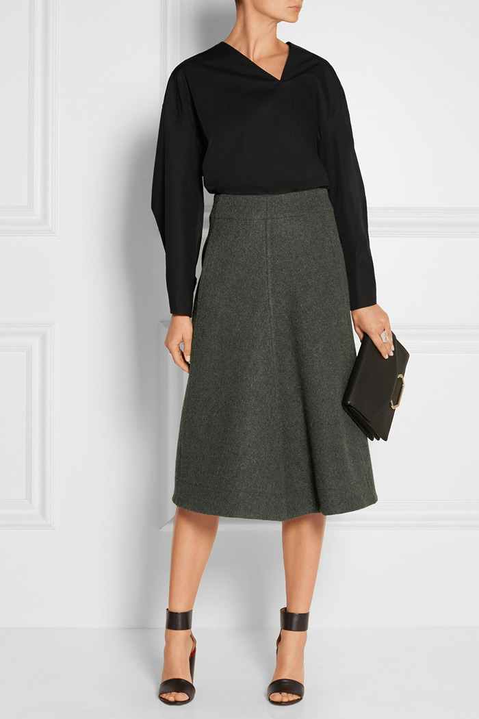 Wear to Work: Midi Skirt, Lemaire Melton wool midi skirt