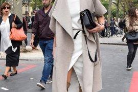 People and Styles Fashion Street Style look Paris Fashion Week Chic Blogger Look Zina Charkoplia Fashionvibe wearing Tibi reversible wool and angora-blend coat and Saint Laurent Monogramme Sac Université