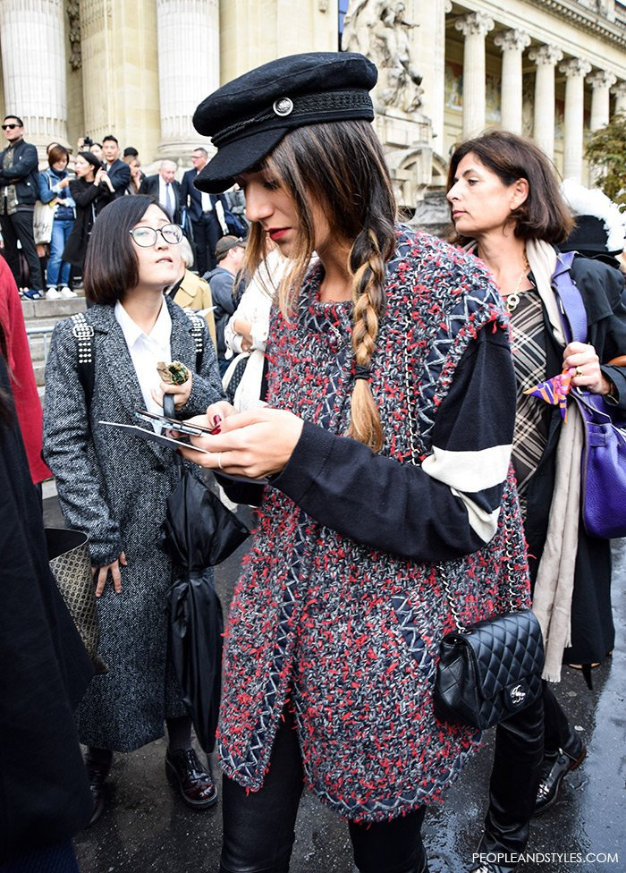 Paris Street Style: Baker Boy Hat and Sleeveless Coat