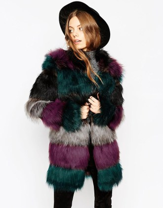 How to wear: Chunky Pelt Multicolor Faux Fur Coat