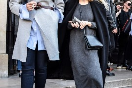 Women's Outfit Inspiration: Coat, grey knit dress and sneakers