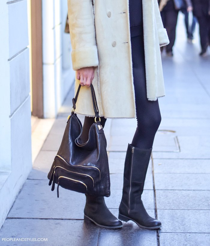 how to wear cream shearling coat