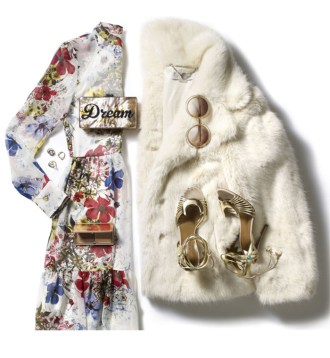 Style Bistro: Festive Look With a Pretty Dress and Faux Fur Coat by PeopleandStyles.com