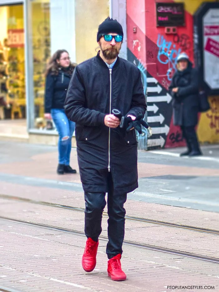 Guys, street style fashion, sneakers in style for men, Simple, stylish and cool guy's outfit with bomber jacket, red adidas sneakers and mirrored sunglasse, casual outfits with sneakers men