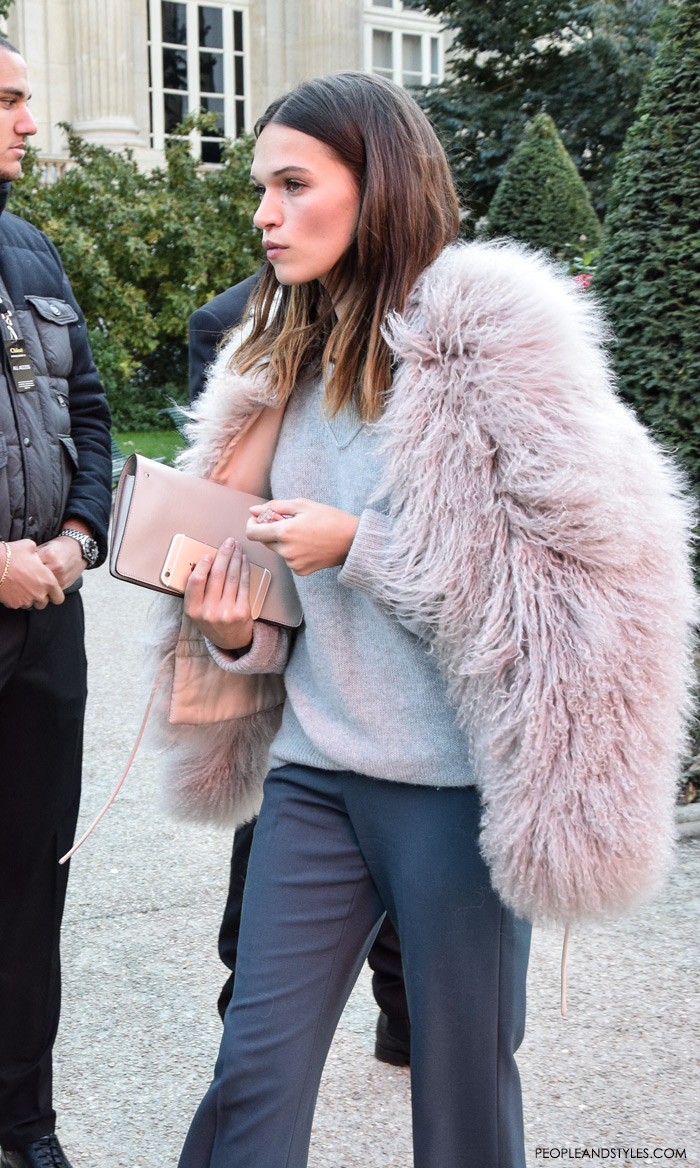ladylike outfits, fashion grey on grey outfit styled with pink fur jacket, Paris street style outfit, Chloe Spring/Summer aftershow