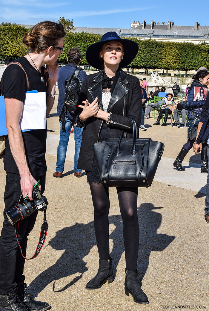 Paris street style Parisien chic, how to wear lace mini skirt, biker jacket, hat and Celine bag