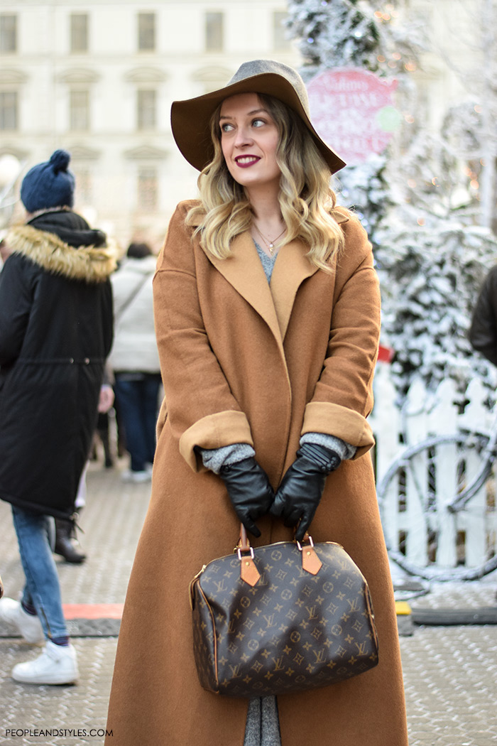 How to wear camel coat and fedora hat. Style with leather gloves, Louis Vuitton designer bag and midi skirt, street style fashion inspiration