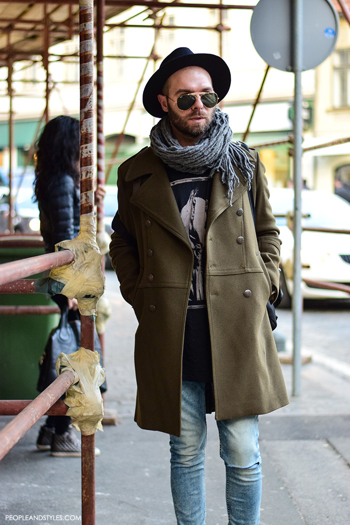 Guys casual winter fashion, what to wear with a wool coat, how to wear sneakers men pinterest