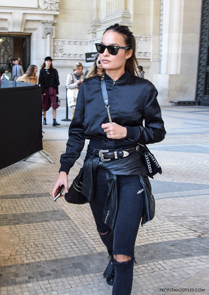 How to wear black bomber jacket and distressed jeans, what are people wearing in paris? sexy look with bomber jacket, street style fashion inspiration from streets of Paris, Paris Fashion Week Spring Summer