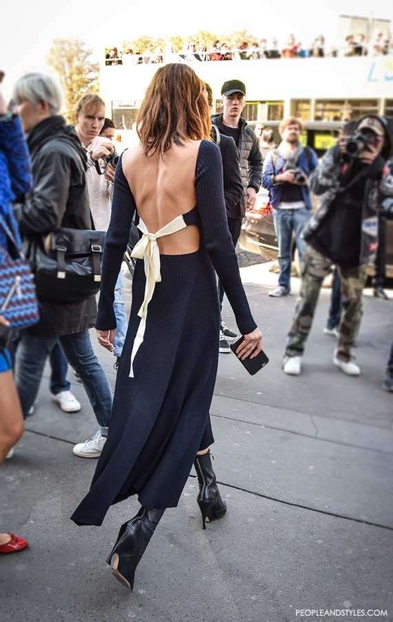 Christine Centenera wearing Celine backless knit dress, street style look by PeopleandStyles.com