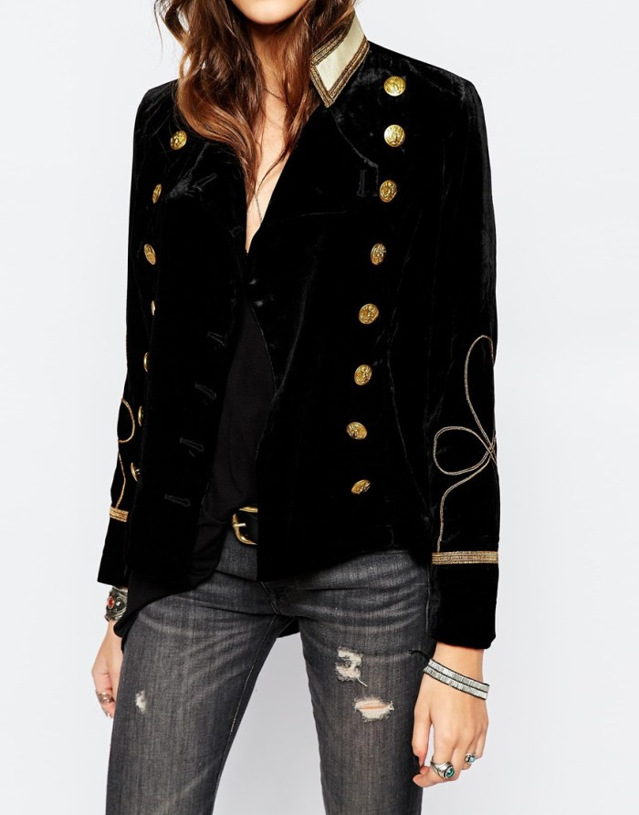 Fashion: how to dress Velvet Military Jacket and distressed jeans, what to wear style ideas