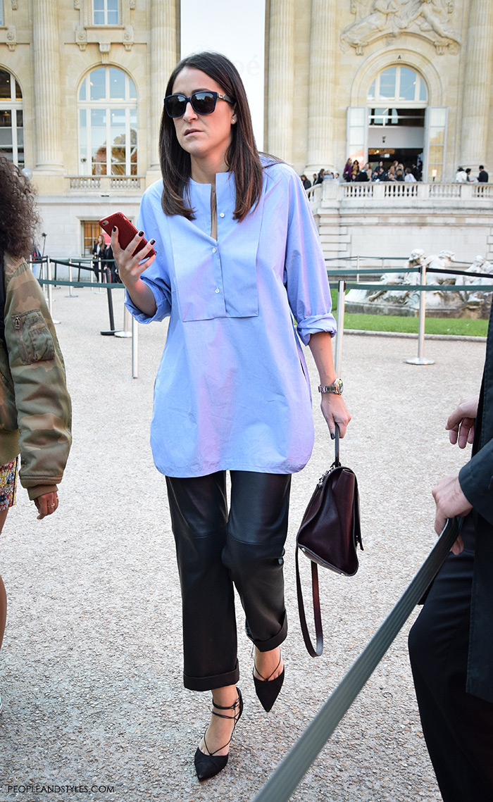 Fashion web, fashion designs, fashion design, fashion styling, fashion websites, Pair loose leather trousers and elegant blue shirt, Women's fashion, wear-to-work outfits, street style Paris