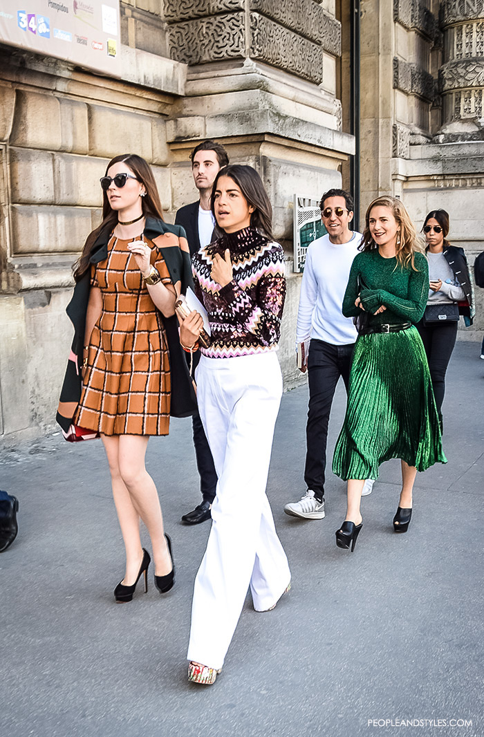 Street Style Look Leandra Medine Stylish Crowd, Blogger Leandra Medine with her stylish friends on their way to attend Dior show in Paris, street style look