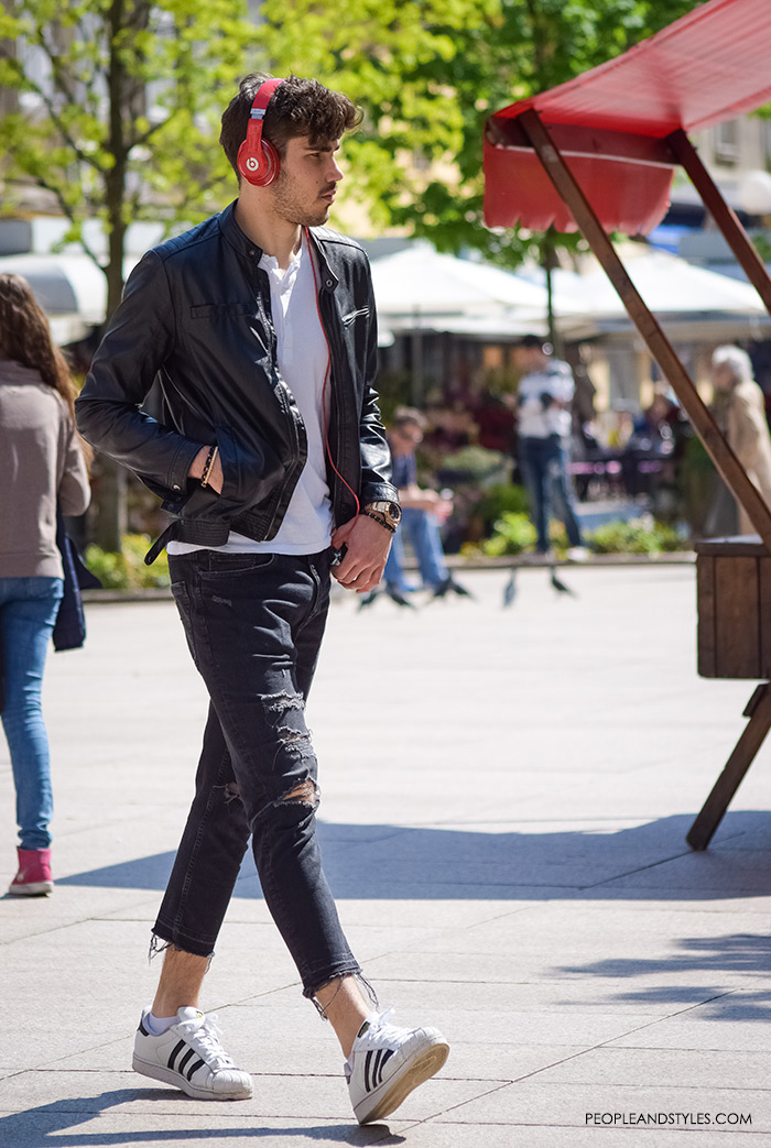 Best Style Men, mens styling, very nice looking and smart boys pictures cute guys street style, best men style, latest gentleman fashion, mens stylish outfits, how to wear leather jacket, white Adidas sneakers, white tee and distressd jeans for guys, mens daily casual style