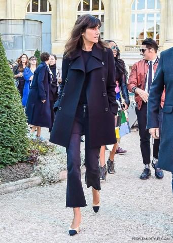 Emmanuelle Alt wearing Chanel granny slingbacks, Paris street style by www.peopleandstyles.com