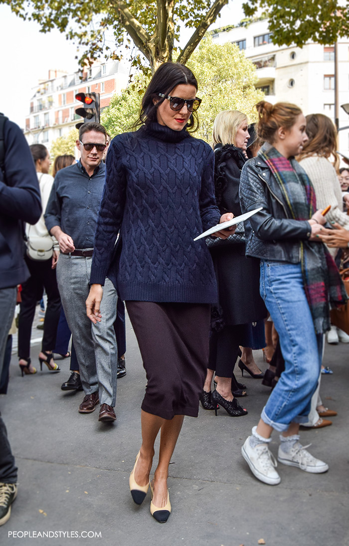 Melissa Rubini, InStyle Magazine & InStyle.com Fashion Director, wearing Chanel Granny Slingbacks and pencil skirt, They are Wearing Chanel Granny Slingbacks. Street style outfits from Paris Fashion Week, Pinterest paris people street images