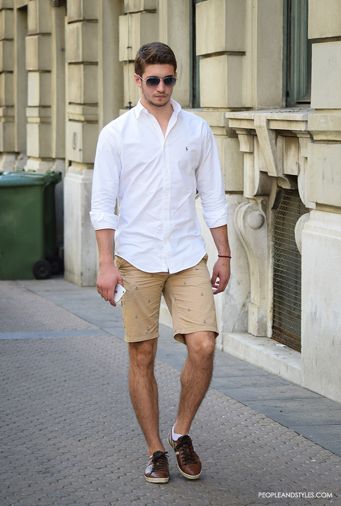 best men casual fashion wear, urban street fashion men, man's fashion street style summer outfit, how to wear chino shorts and white button down shirt, handsome man